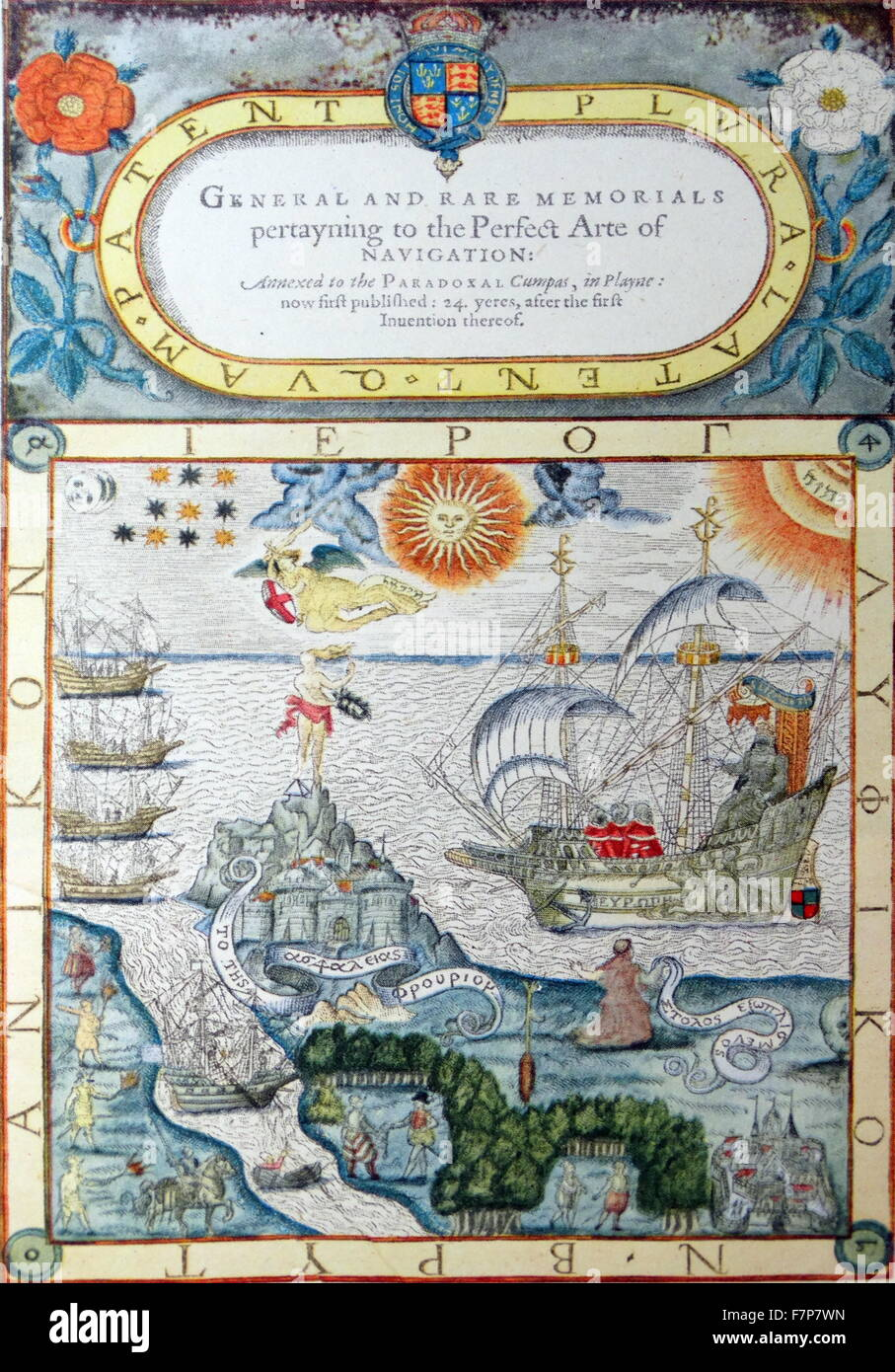 Frontispiece to John Doe's General and Rare Memorials 1577 - Stock Image