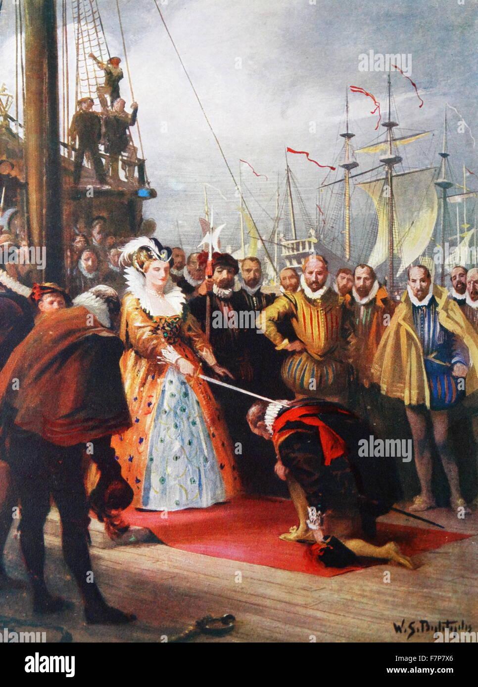 Queen Elizabeth knighting Drake 1581. - Stock Image