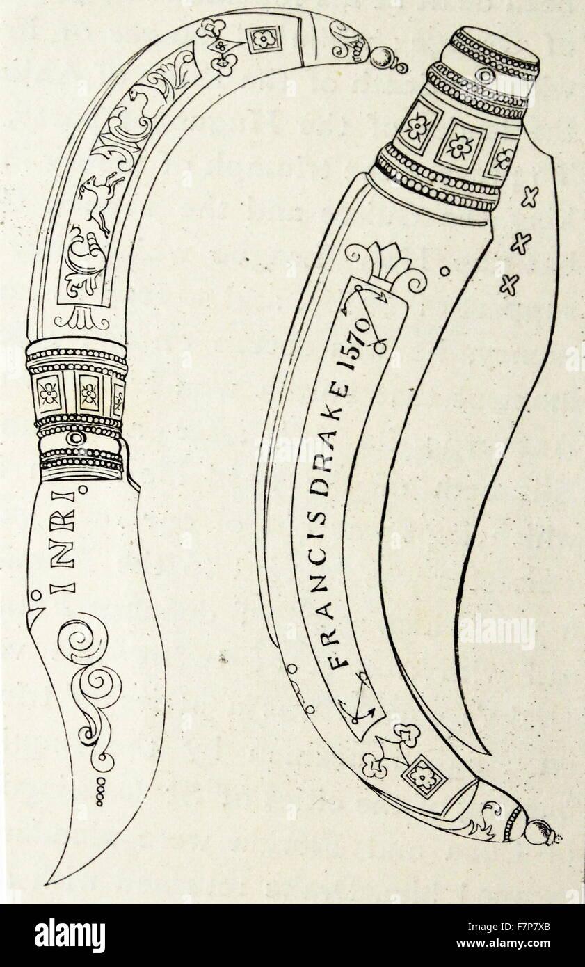Clasp knife of Sir Francis Drake. - Stock Image