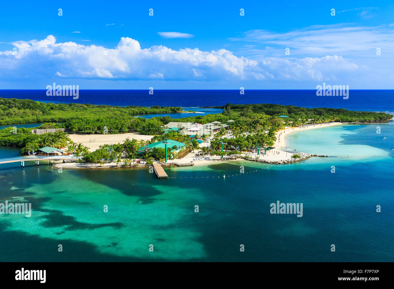Roatan Island, Honduras. Panoramic view of the island. - Stock Image