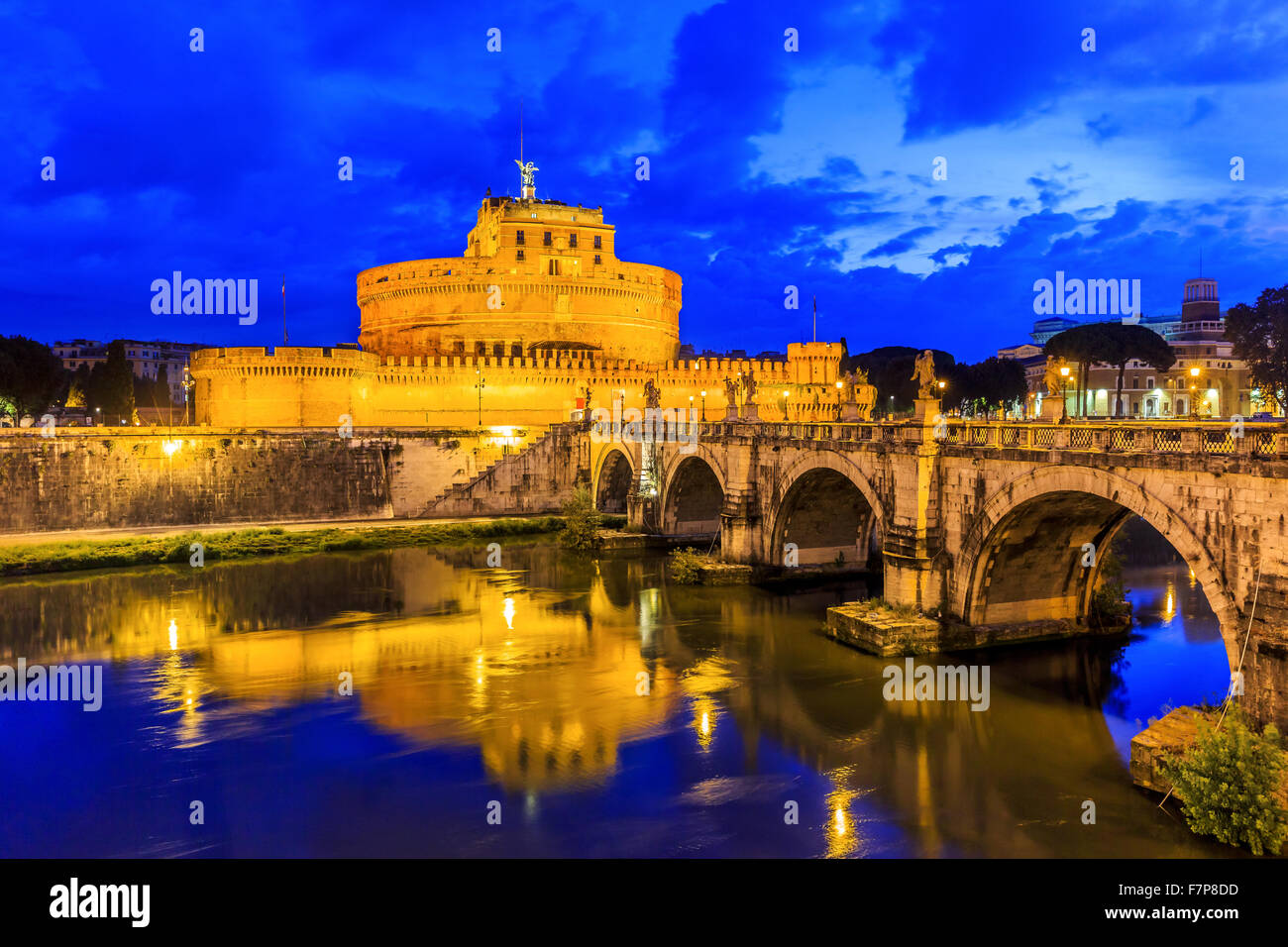 Rome, Italy. Bridge, Castel Sant Angelo and Tiber River at twilight. - Stock Image