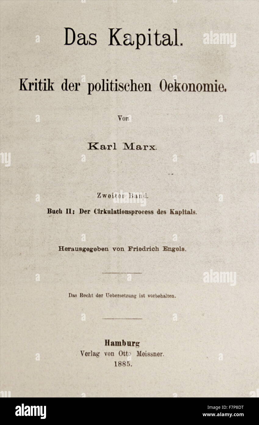 Title page to an 1885 German Edition of 'Das Kapital' by Karl Marx, originally published in 1848. - Stock Image
