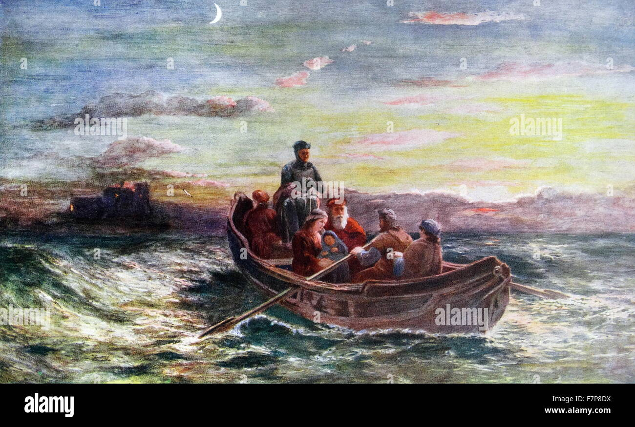 The escape of Mary, Queen of Scots. From Loch Leven Castle Stock Photo