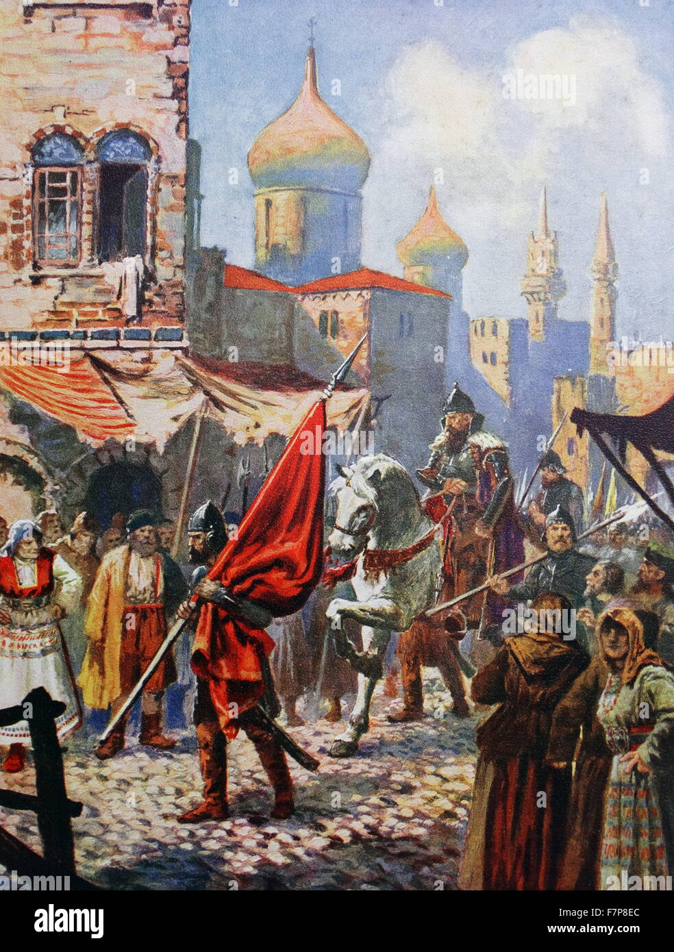 The return of Ivan The Terrible to Moscow after the conquest of Kazan. - Stock Image