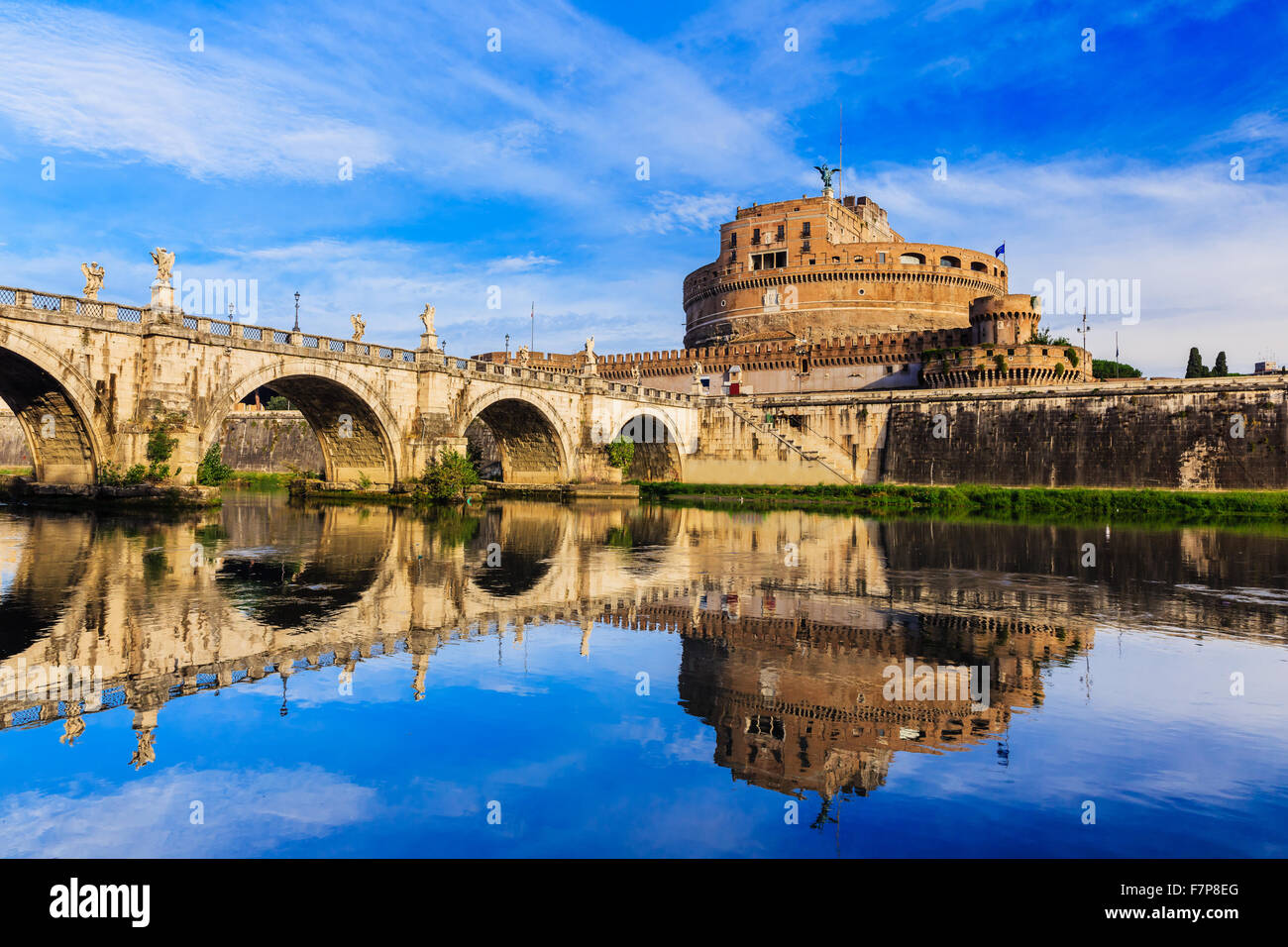 Rome, Italy. Castle Sant Angelo, bridge and Tiber river. - Stock Image