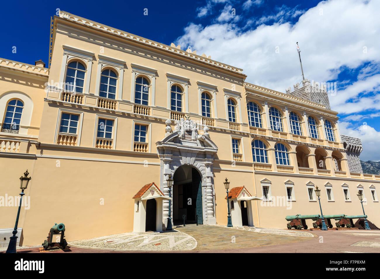 Monaco, Principality of Monaco Royal Palace Facade. Monte Carlo - Stock Image