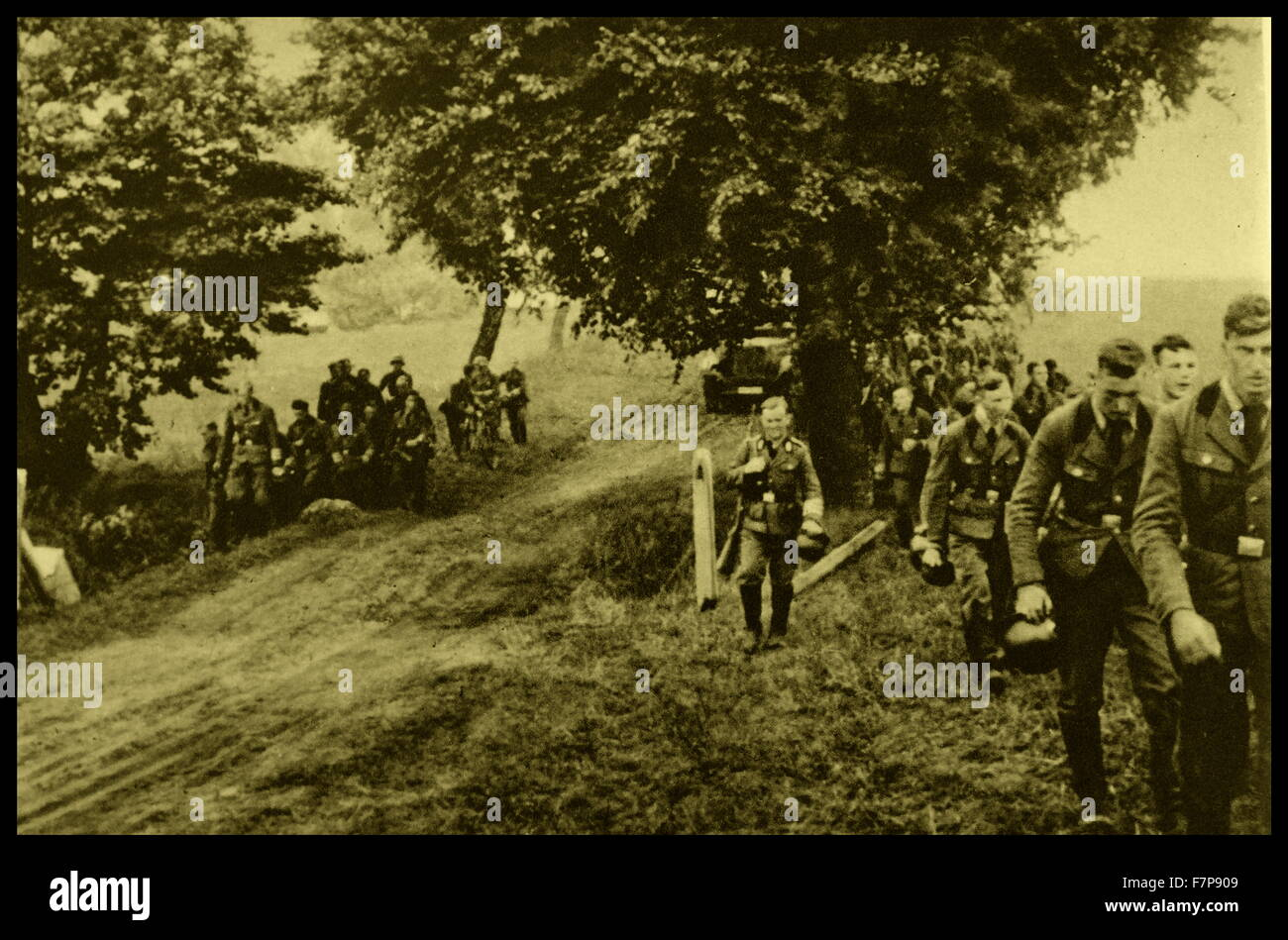 German male members of the Reich Labour Service are shown participating in their compulsory national service. The - Stock Image