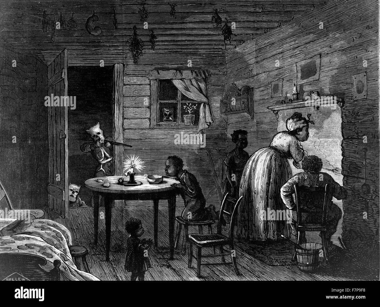 Wood engraving, print of African American woman cooking, man seated alongside and three children, with a man from - Stock Image