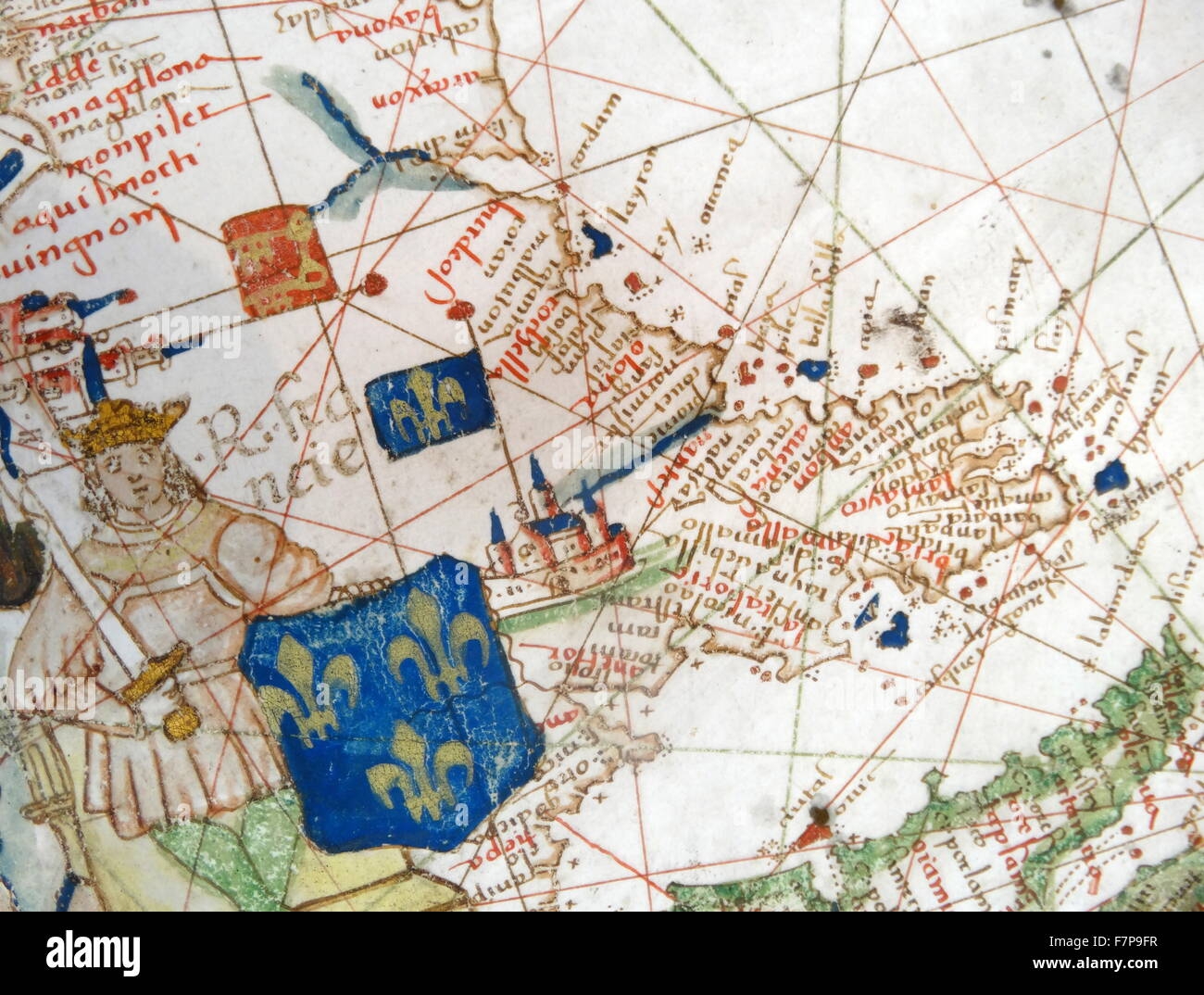 Renaissance map of Europe, Jacopo Russo, 1528, detail - Stock Image