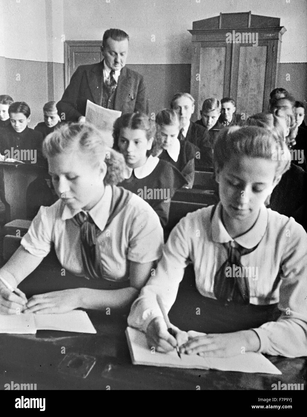Sixth grade school room in Soviet occupied Latvia, USSR. - Stock Image