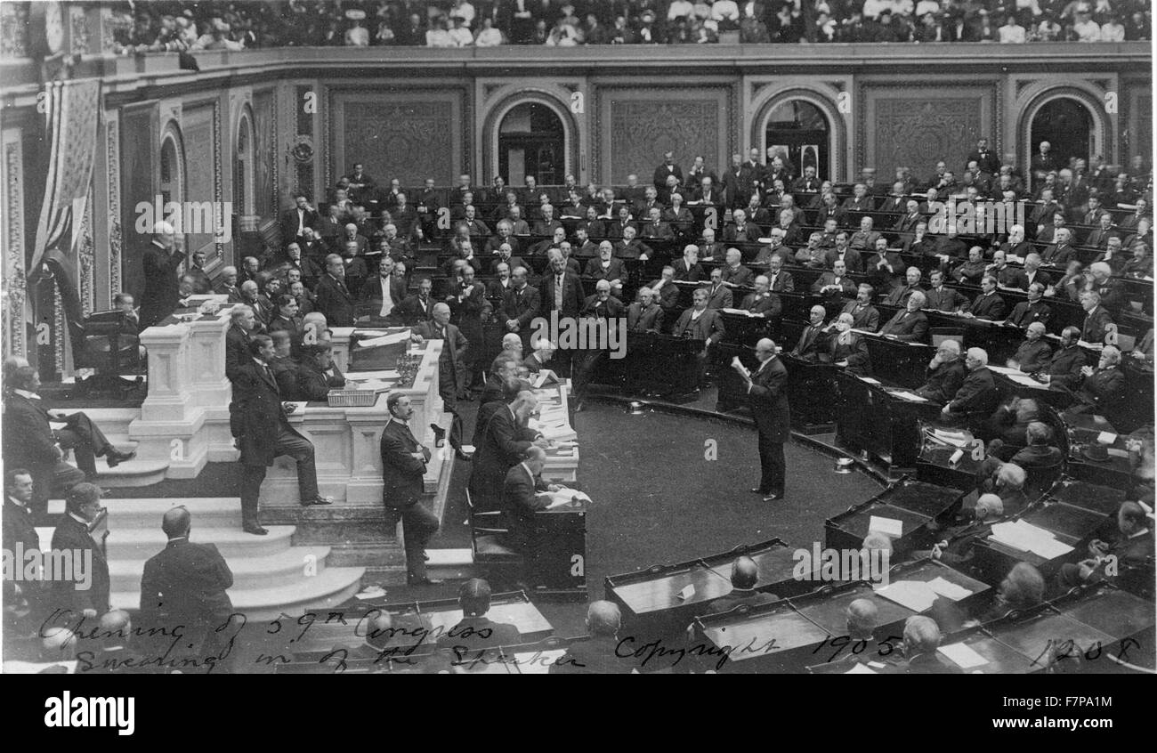 Opening ceremonies of the U.S. 59th Congress, 2nd session, 1906, with Speaker Joseph Cannon presiding. He shattered - Stock Image