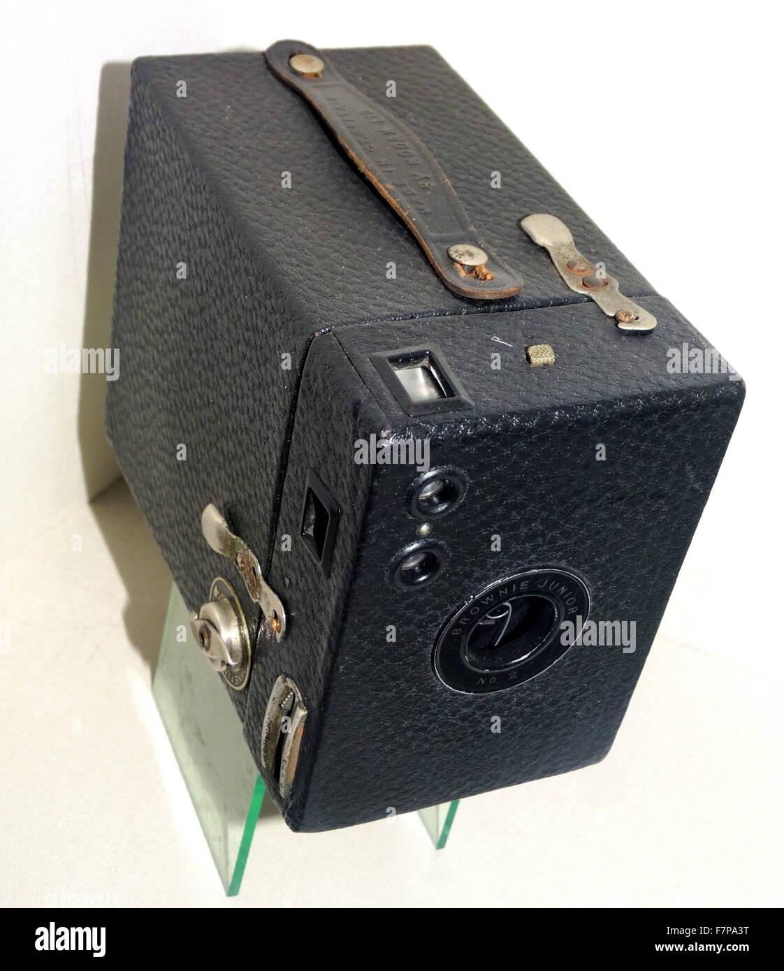 Kodak Box Brownie Junior 2 Camera, Roll film camera Made in England circa 1935 - Stock Image