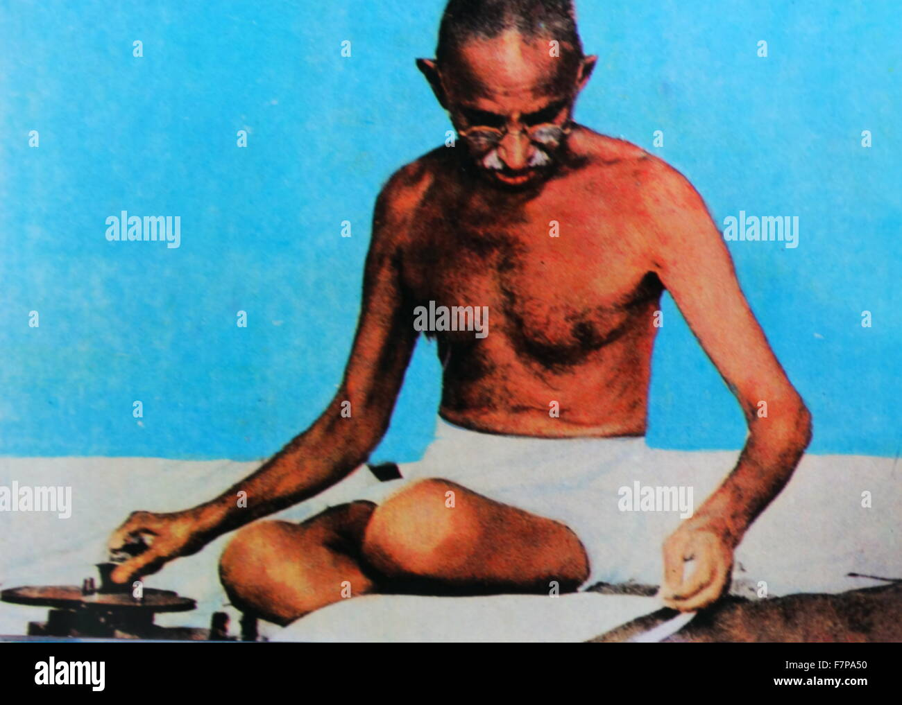 Gandhi expanded his nonviolence platform to include the swadeshi policy—the boycott of foreign-made goods, especially - Stock Image