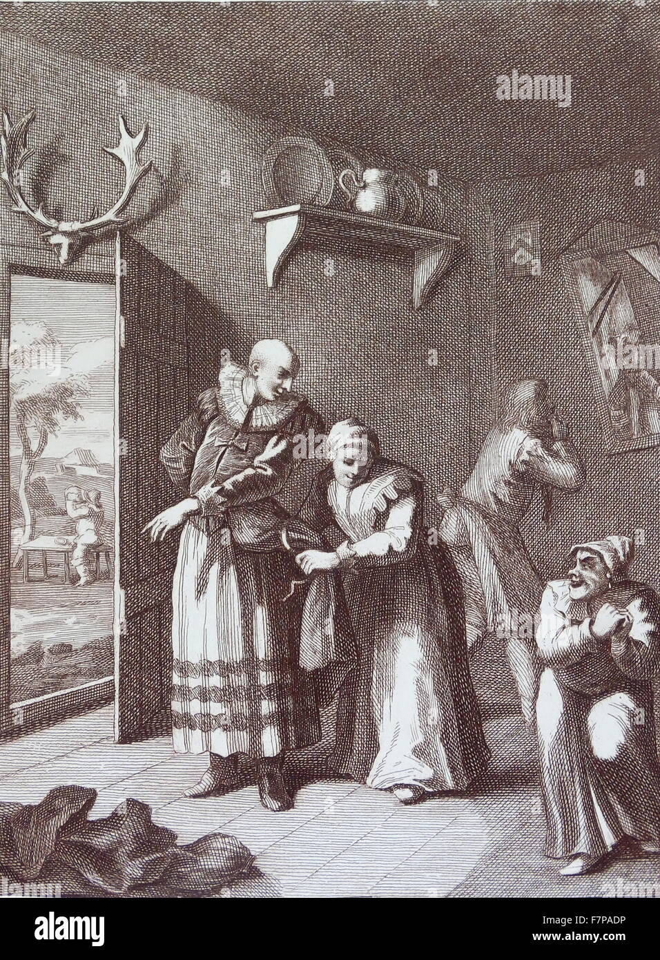 The curate and the barber disguises themselves to take Don Quixote home. 1754 Engraving by William Hogarth;18th - Stock Image