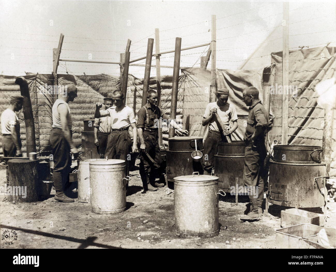 The open air kitchen used by German prisoners while a new mess hall and kitchen is being erected at Camp Miramas, - Stock Image