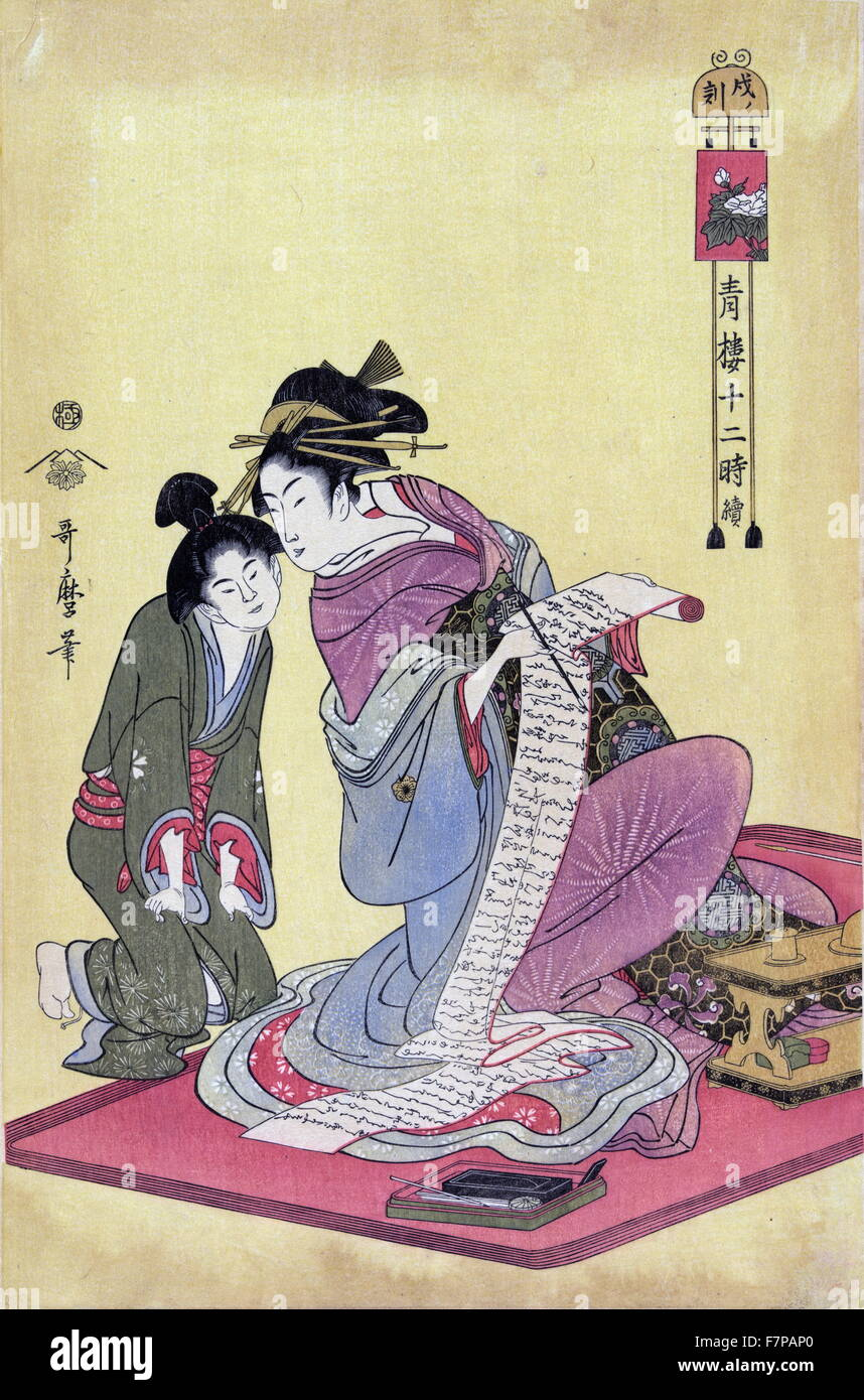 The hour of the dog by Utamaro Kitagawa (1753?-1806). Colour woodcut. Print of a young woman sitting on a mat, holding - Stock Image