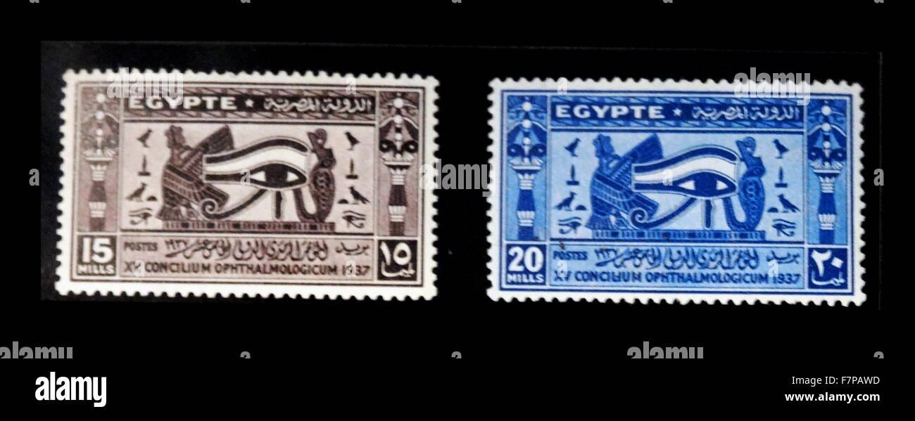 1937 Egyptian Postage Stamps With Symbols Of The The Eye Of Horus