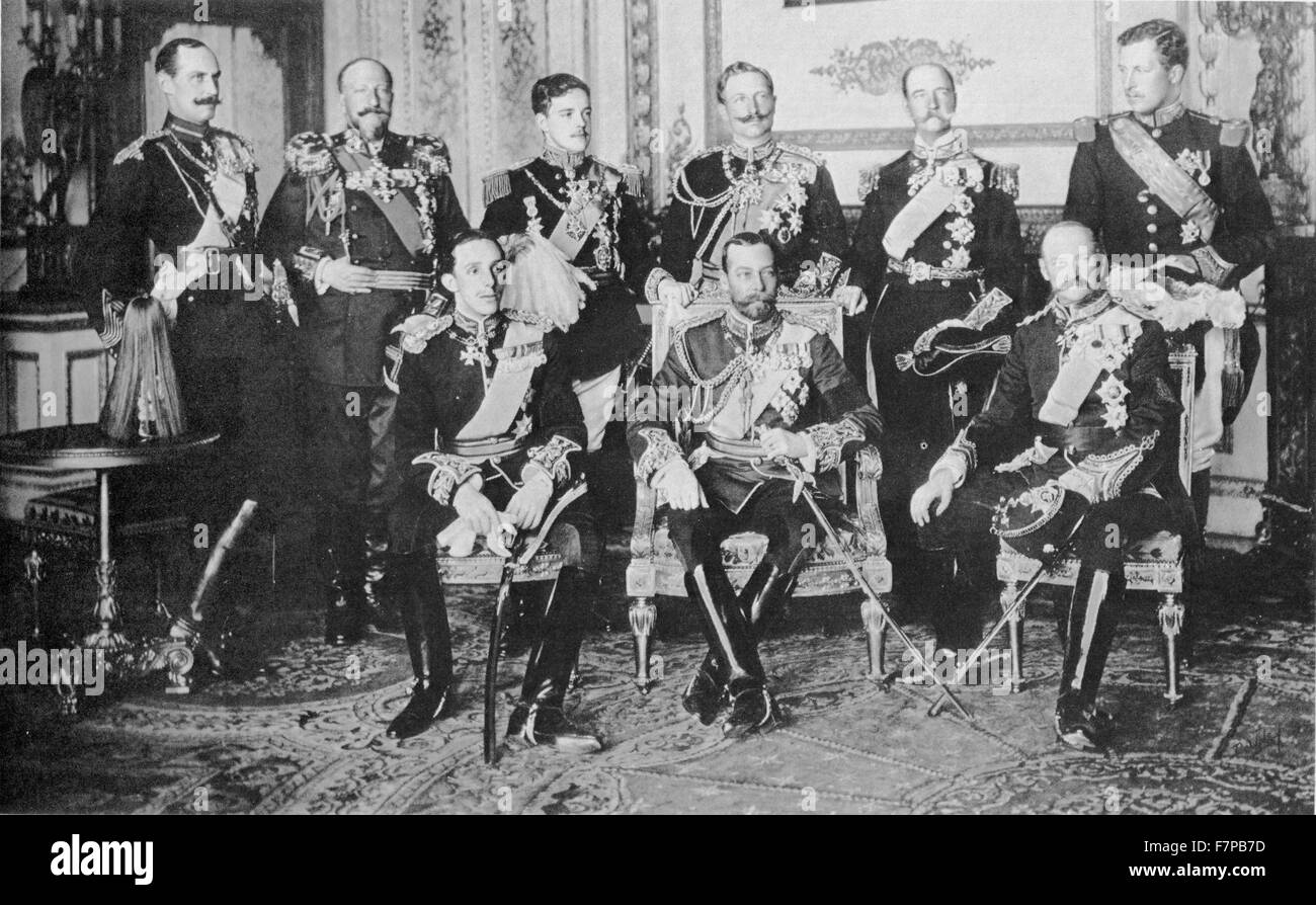 Photograph of European royalty gathered in London for the funeral of King Edward VII on May 10th 1910. Among the - Stock Image