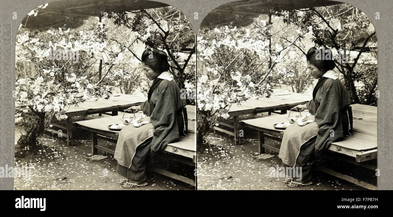 Photographic print on stereo card, a Japanese sans souci, Arashiyama, Japan. Stereograph shows a Japanese woman - Stock Image