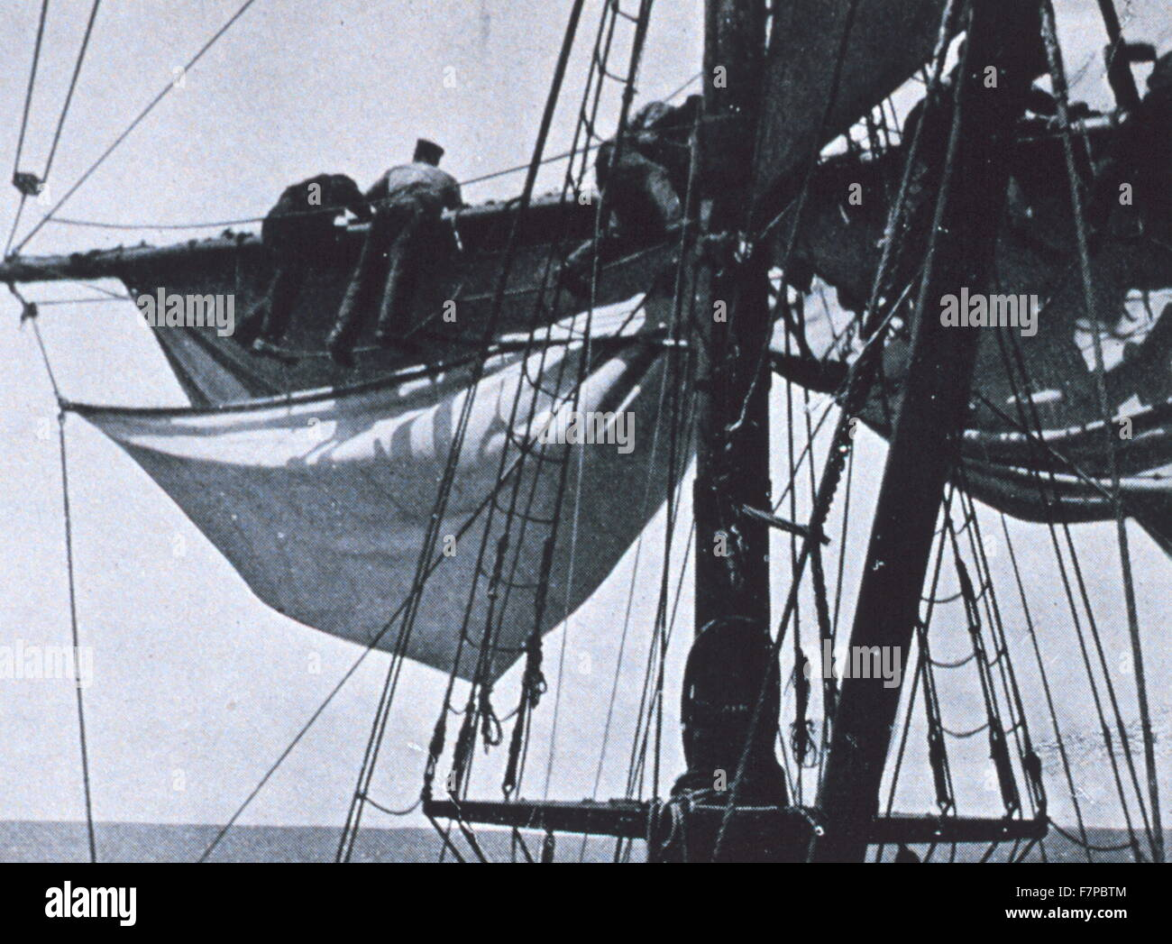 In the rigging'. In: 'The South Pole', by Roald Amundsen, 1872-1928 Stock Photo
