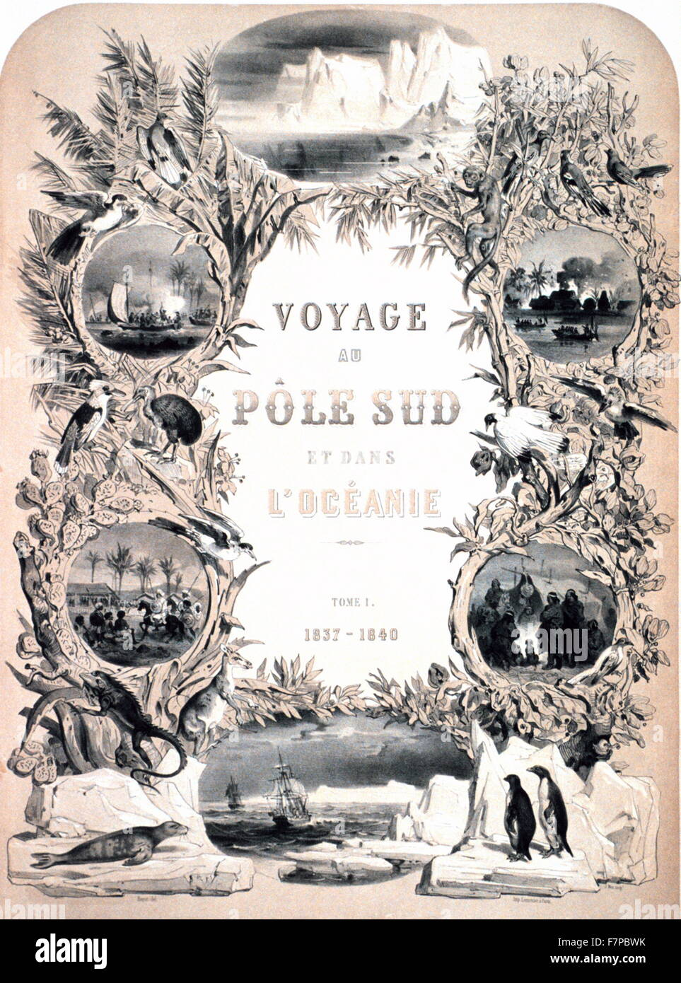 Frontispiece to: 'Voyage au pole sud et dans l'Oceanie 1842, - Stock Image