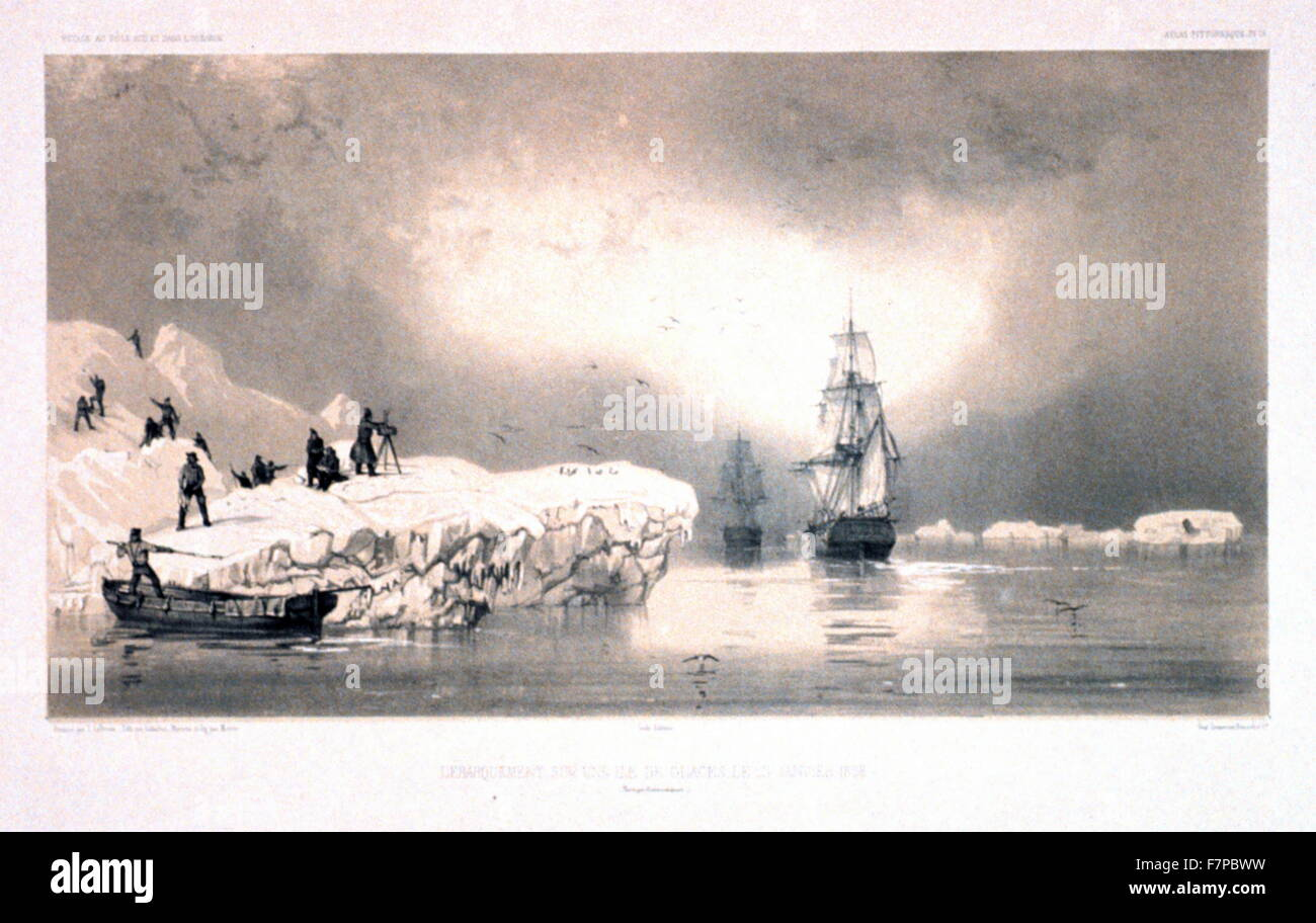 Disembrcation from arctic exploration ships 1838. Antarctic exploration illustrated in 'Voyage au pole sud et - Stock Image