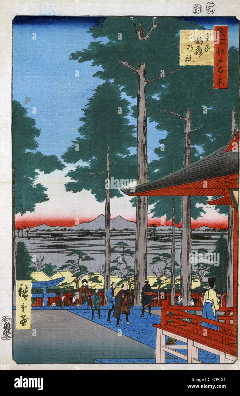 Woodcut illustration shows Japanese worshippers arriving at the Oji Inari shrine. - Stock Image