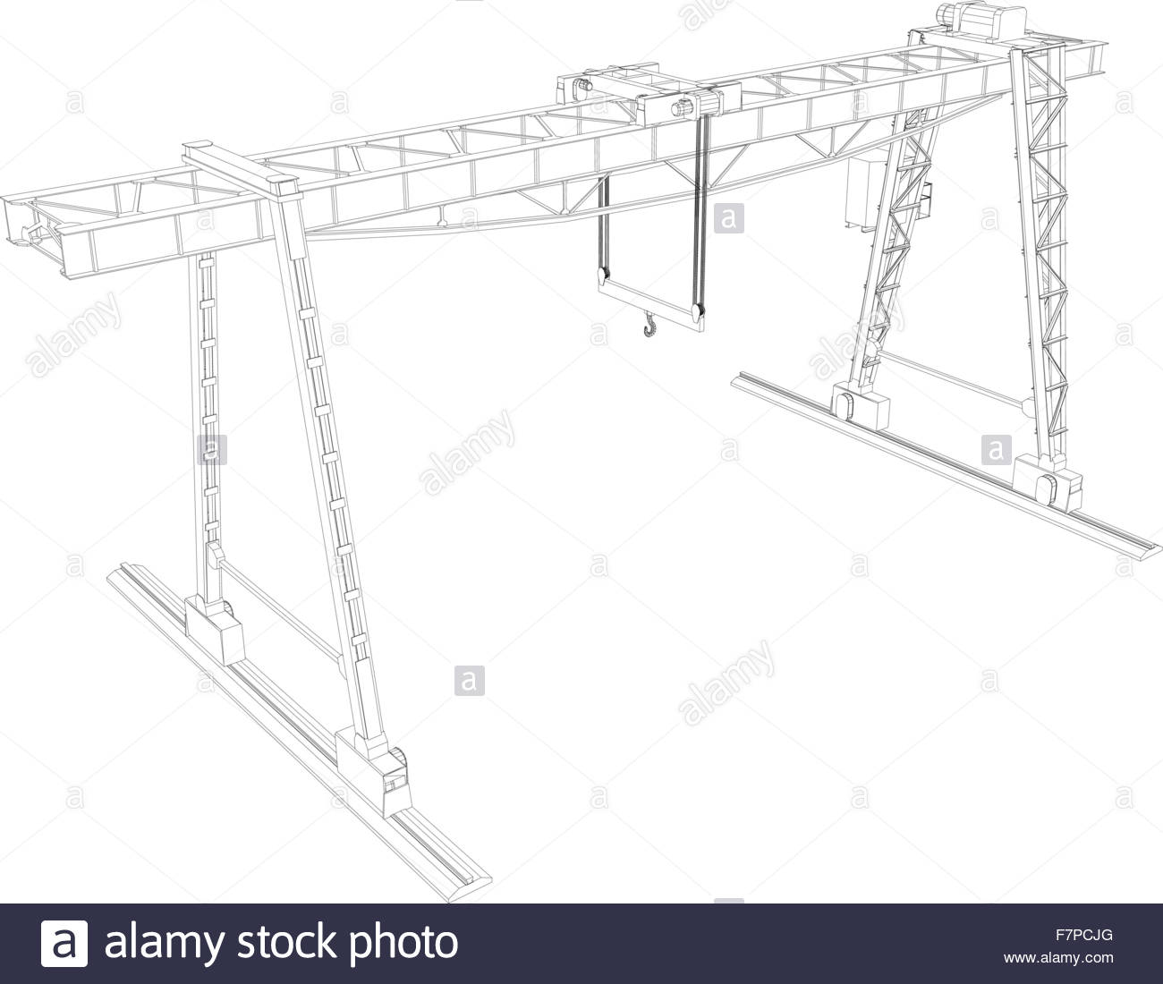 Tower Gantry Crane Cut Out Stock Images Pictures Alamy Overhead Wiring Along With Diagram Wire Frame Image