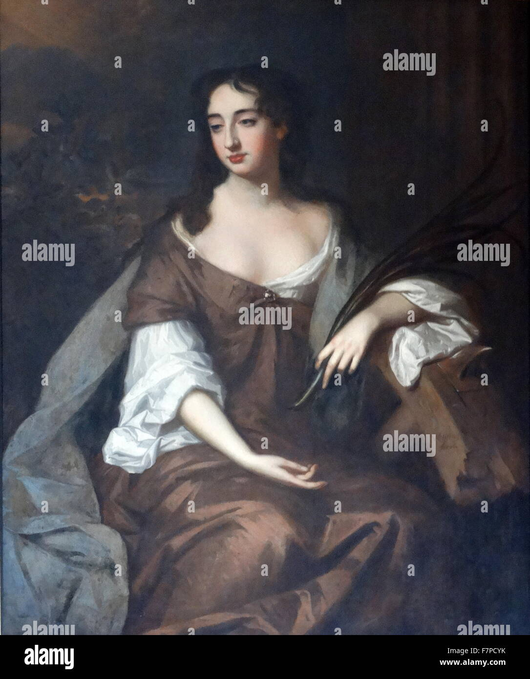 Painting titled 'A Lady as St Catherine' by Willem Wissing (1656-1687) Dutch portrait artist. Dated 17th - Stock Image