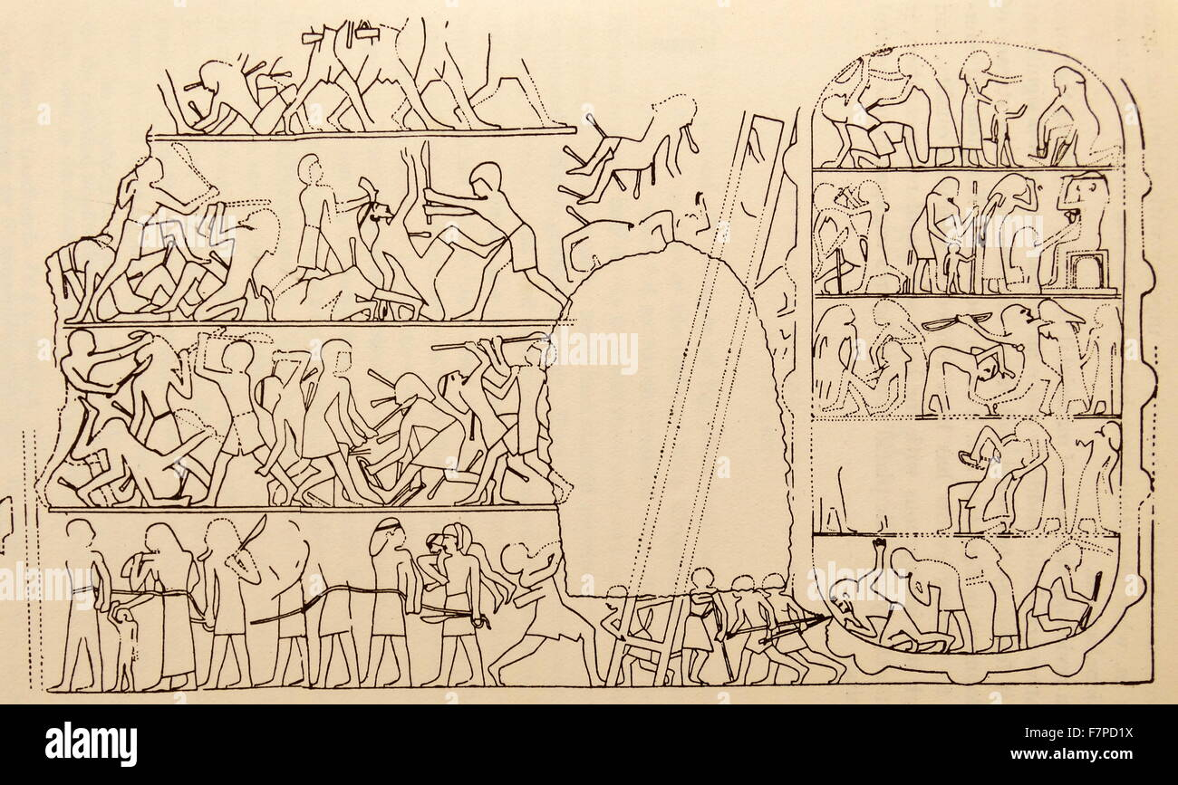 battle scene 19th Dynasty, Egypt - Stock Image