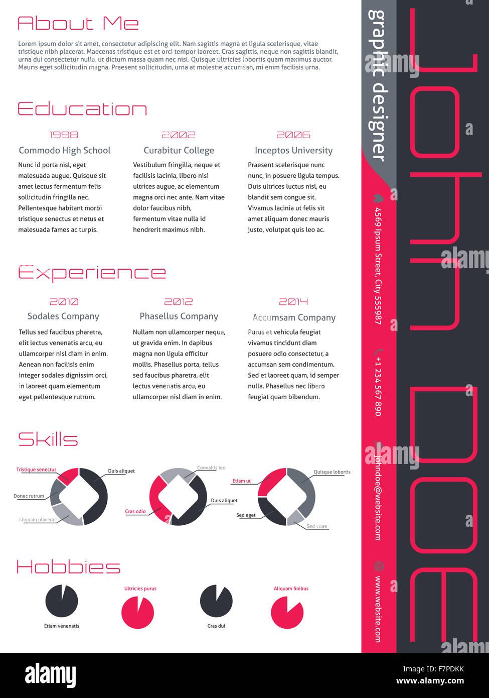 Modern Curriculum Vitae Cv Resume Template Design In Pink Gray Colors