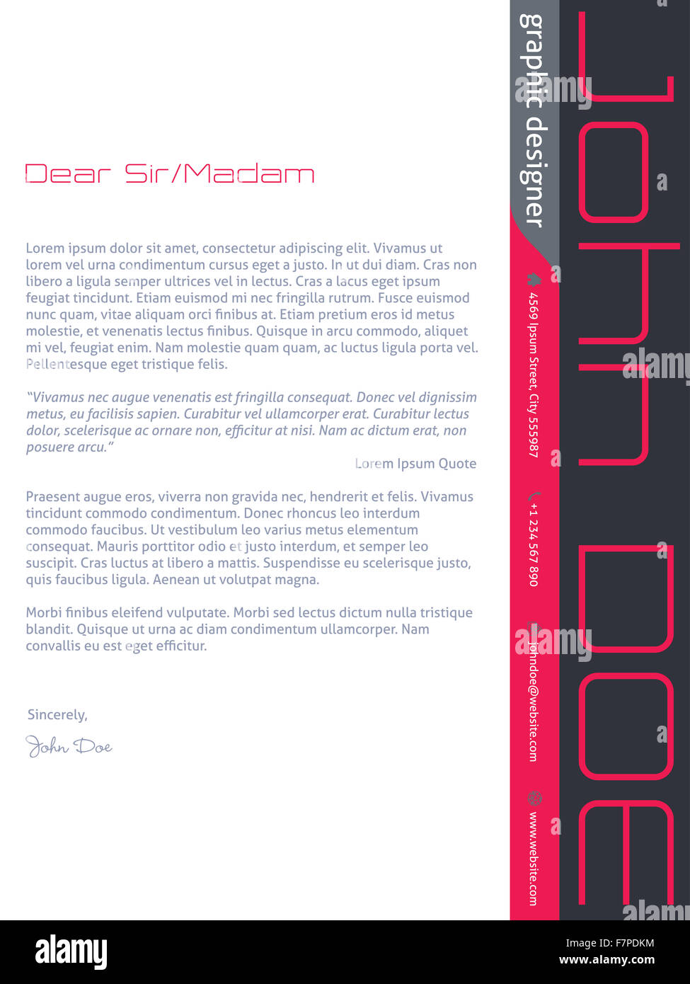 Modern Cover Letter Cv Resume Template Design In Pink Gray Colors