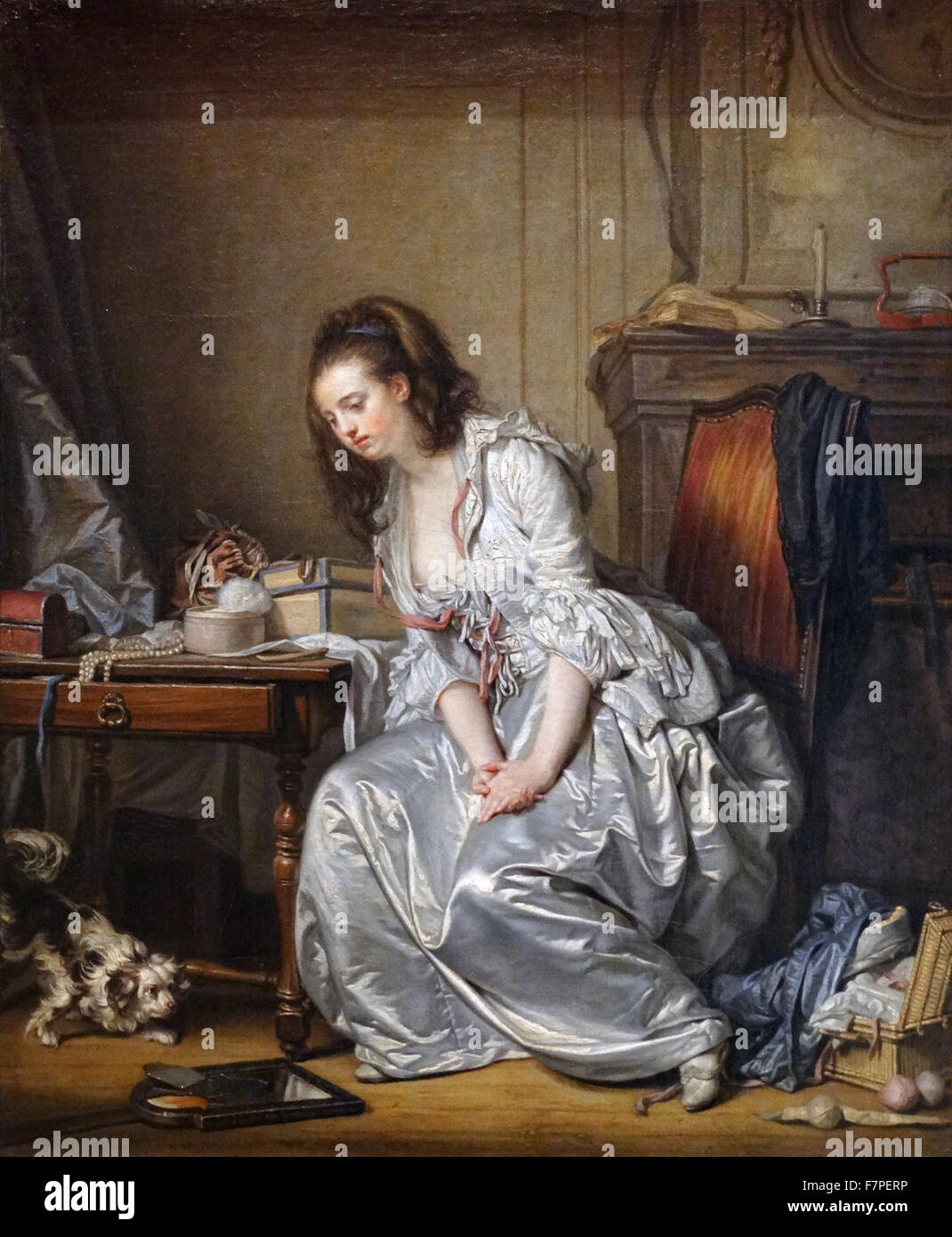 Painting titled 'The Broken Mirror' by Jean-Baptiste Greuze (1725-1805) French painter of portraits, genre scenes, Stock Photo