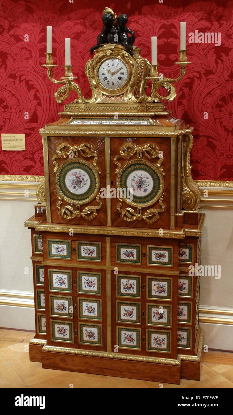 18th Century filing-cabinet and clock attributed to Jean-Francois Leleu, the clock case designed by Jean-Claude Stock Photo