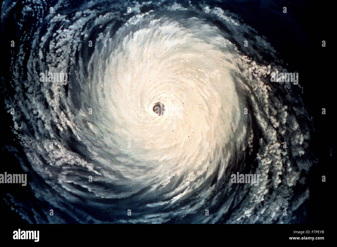Artist's rendition of a satellite view of a hurricane - Stock Image