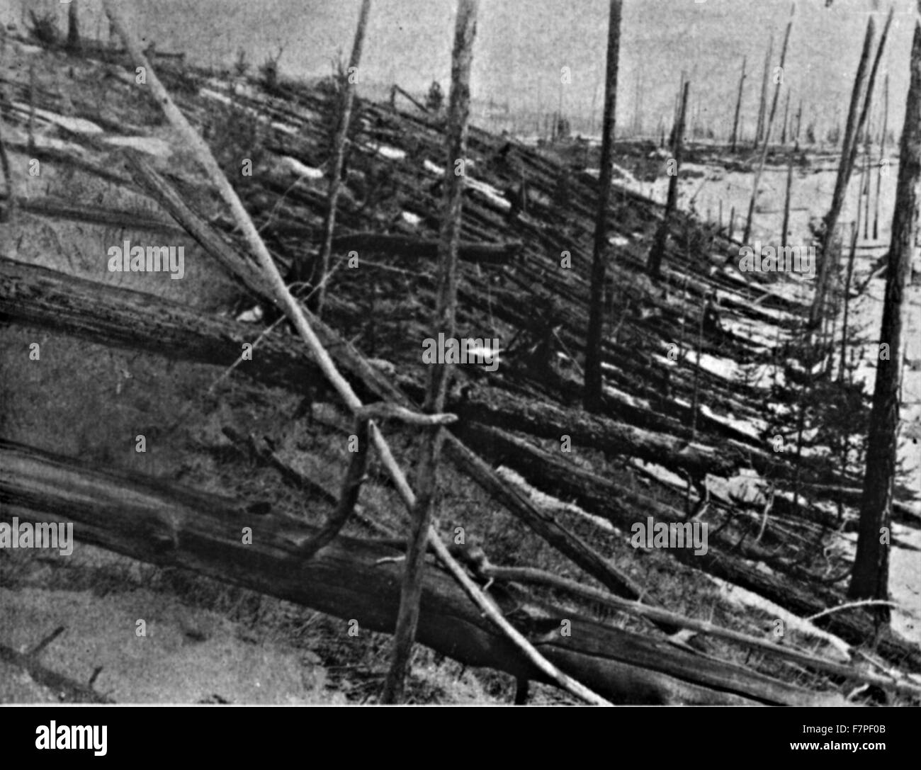 Photograph from the Tunguska event was a large explosion that occurred near the Stony Tunguska River, in what is - Stock Image