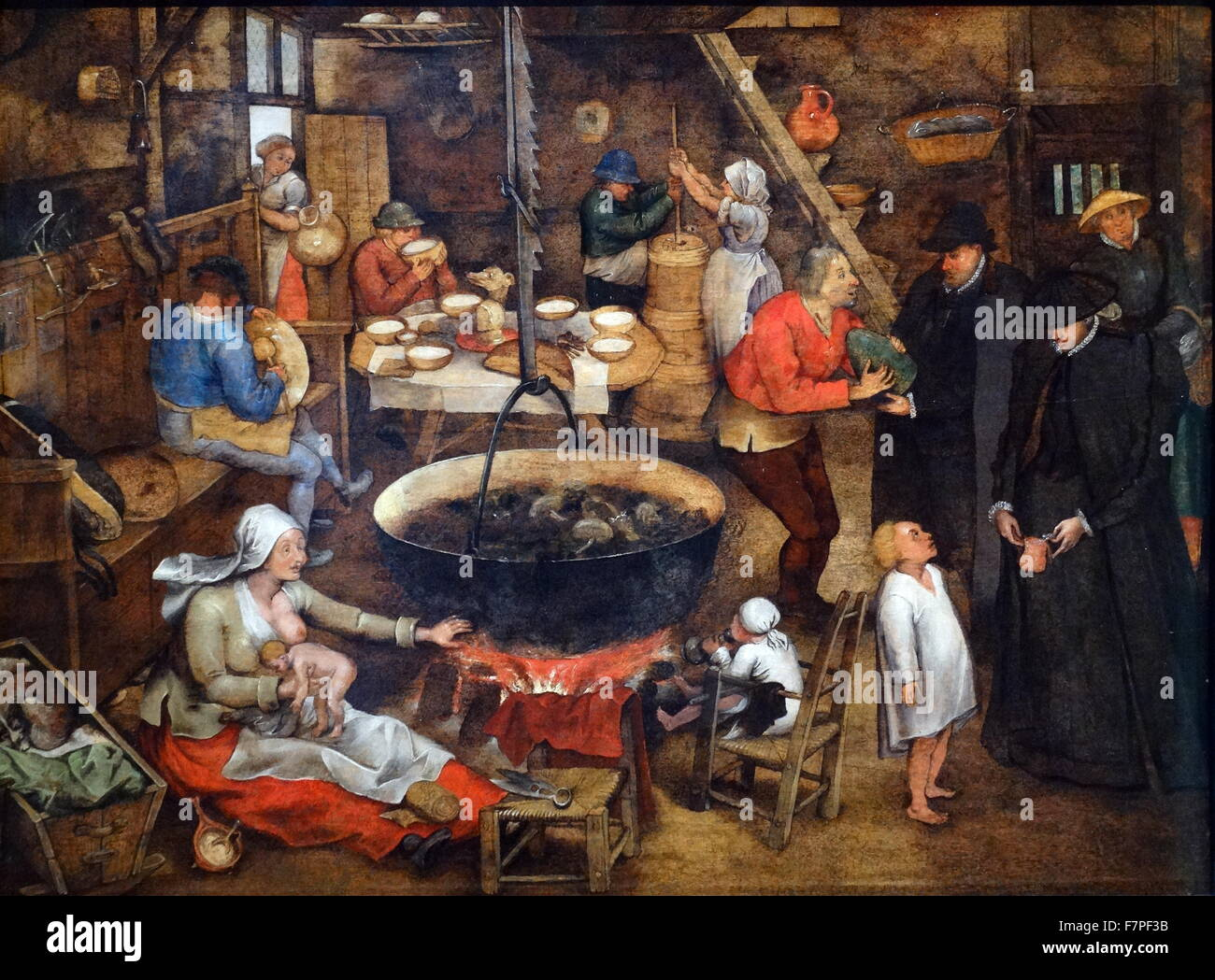 The Visit of the Godfather by Pieter Brueghel the Younger 1565-1638. Oil on Panel - Stock Image