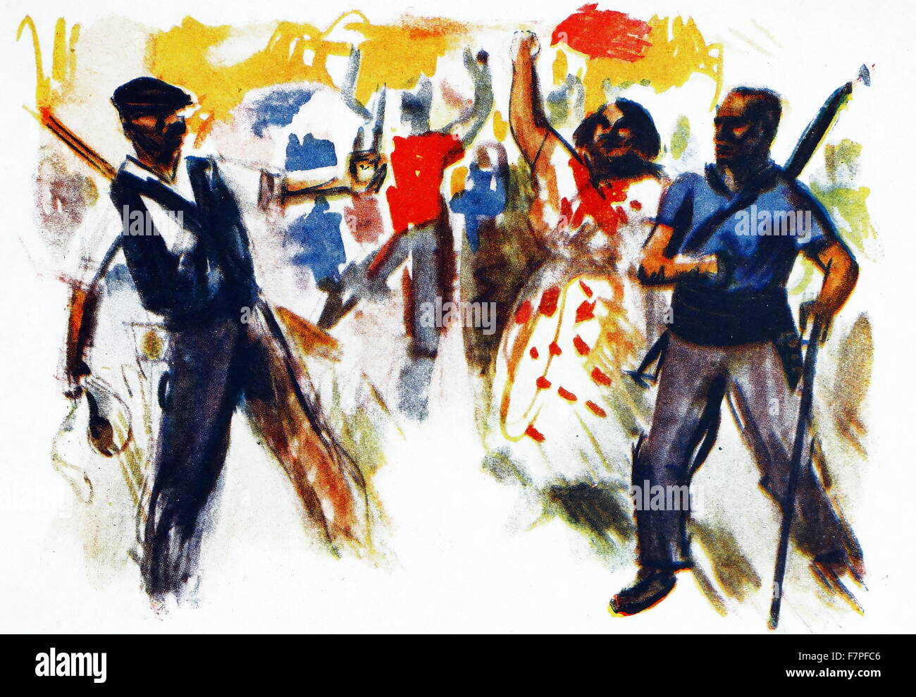 Communists celebrate a victory during the Spanish Civil War 1937 - Stock Image