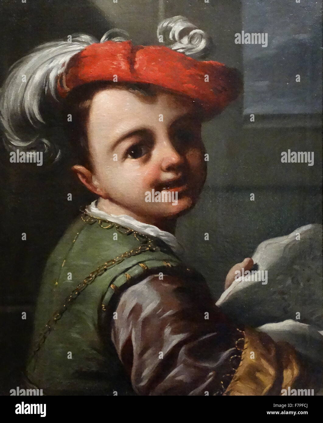 Boy Holding a Caricature circa 1700. by Antonio Amorosi (1660-1738) Oil on canvas - Stock Image