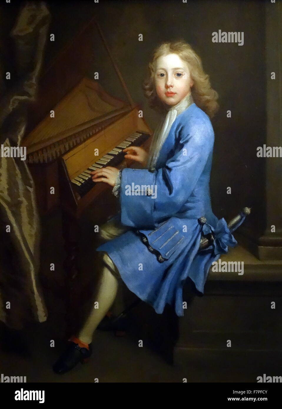 Garton Orme at the Spinet, 1705-8, by Jonathan Richardson the Elder (about 1665-1745) - Stock Image