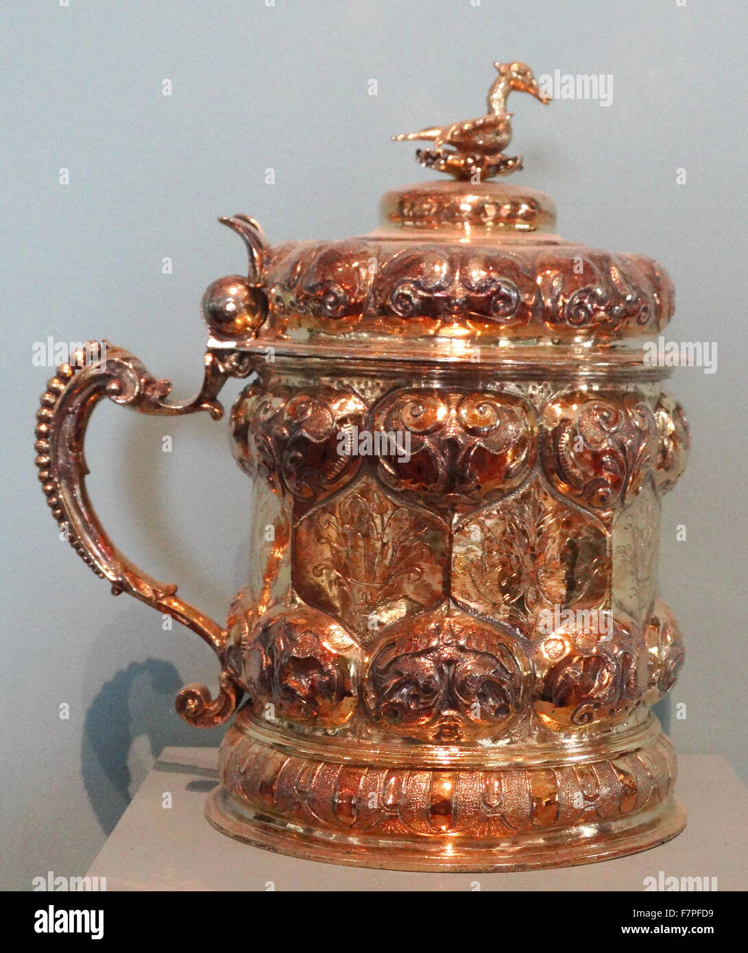 Covered tankard German (Nuremberg), Silver-gilt, about 1630 - Stock Image