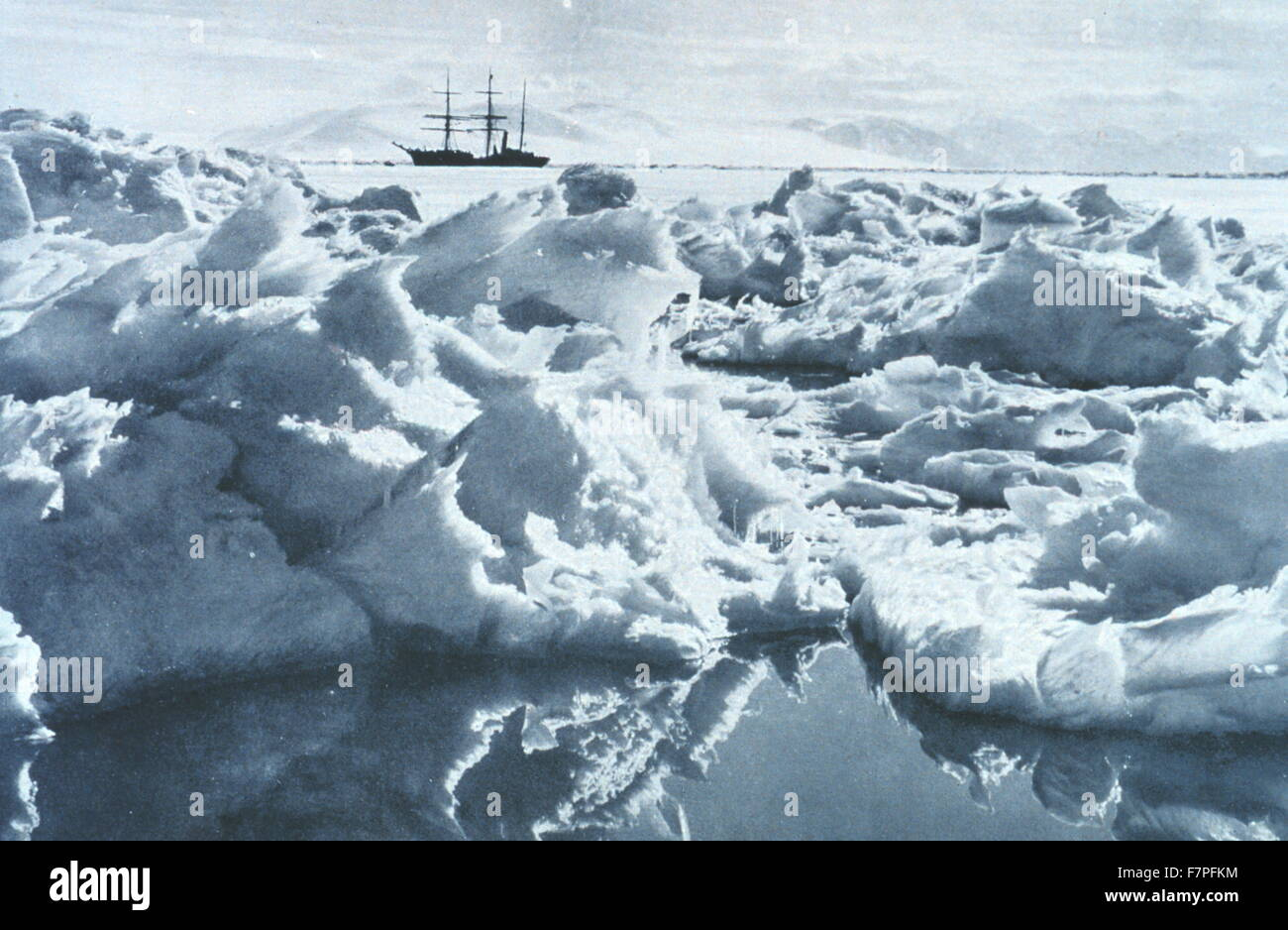 Photograph taken aboard the Terra Nova, a whaler and polar expedition ship used for the 1910 British Antarctic Expedition, - Stock Image