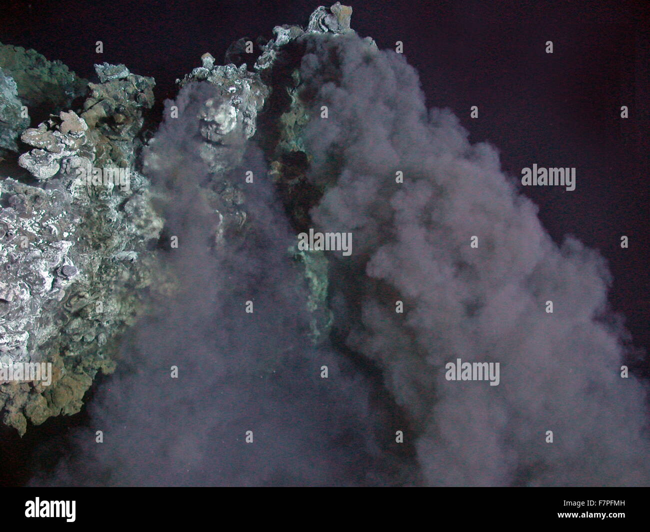 Photograph of the top of a black smoker chimney on the south-eastern edge of the iguanas vent field, taken during - Stock Image