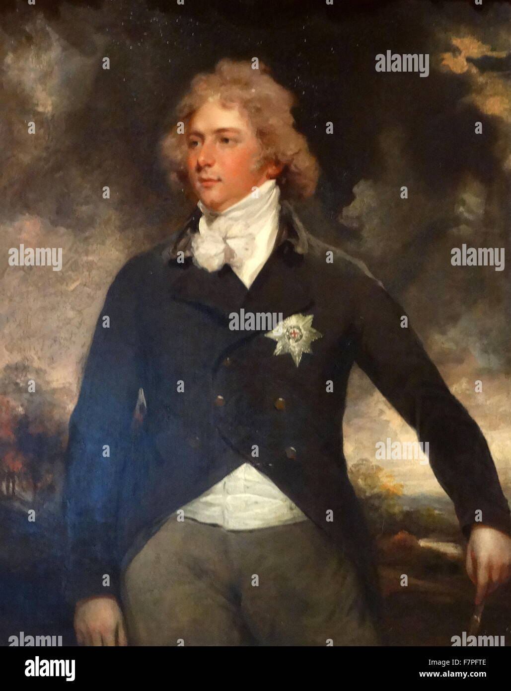Portrait of George IV as Prince of Wales by John Hoppner (1758-1800) English portrait painter. Dated 19th Century - Stock Image