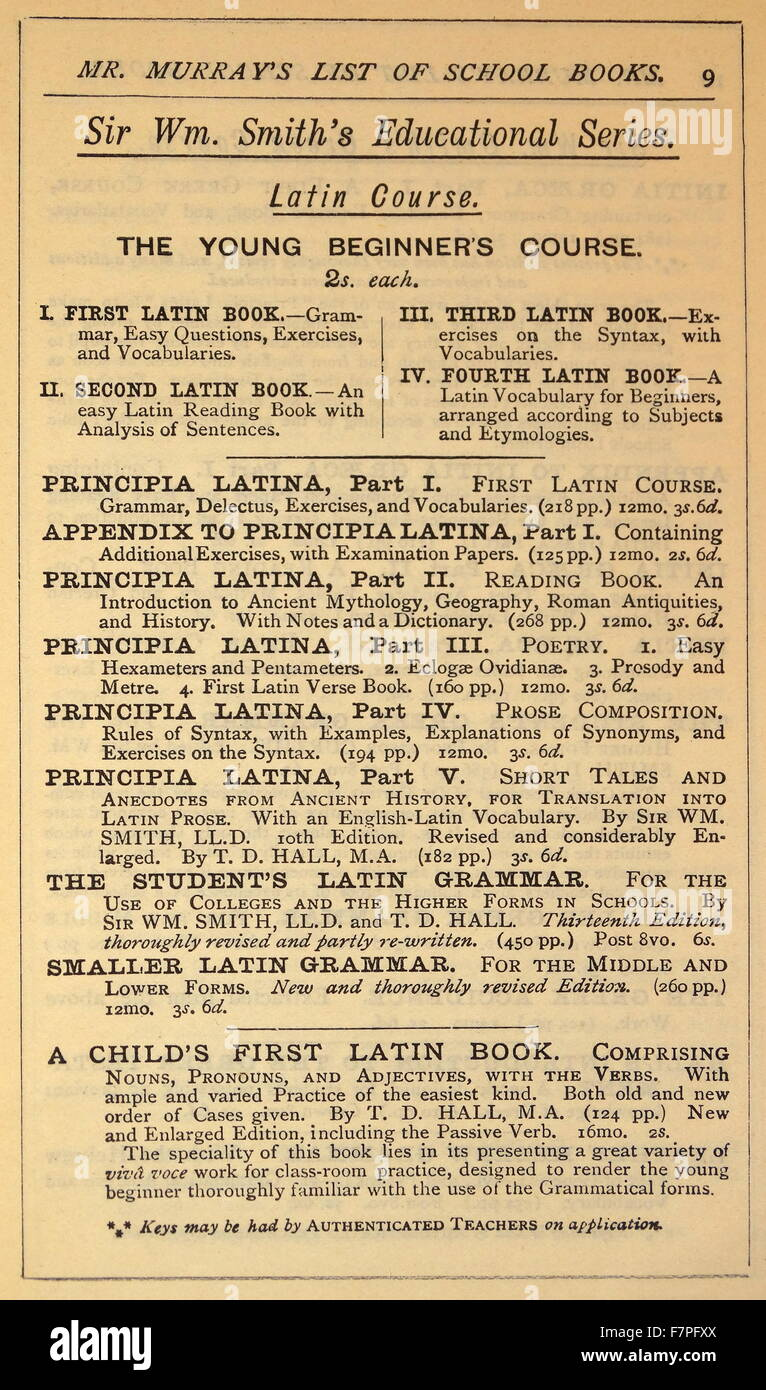 Advert for school books in Latin 1900 - Stock Image