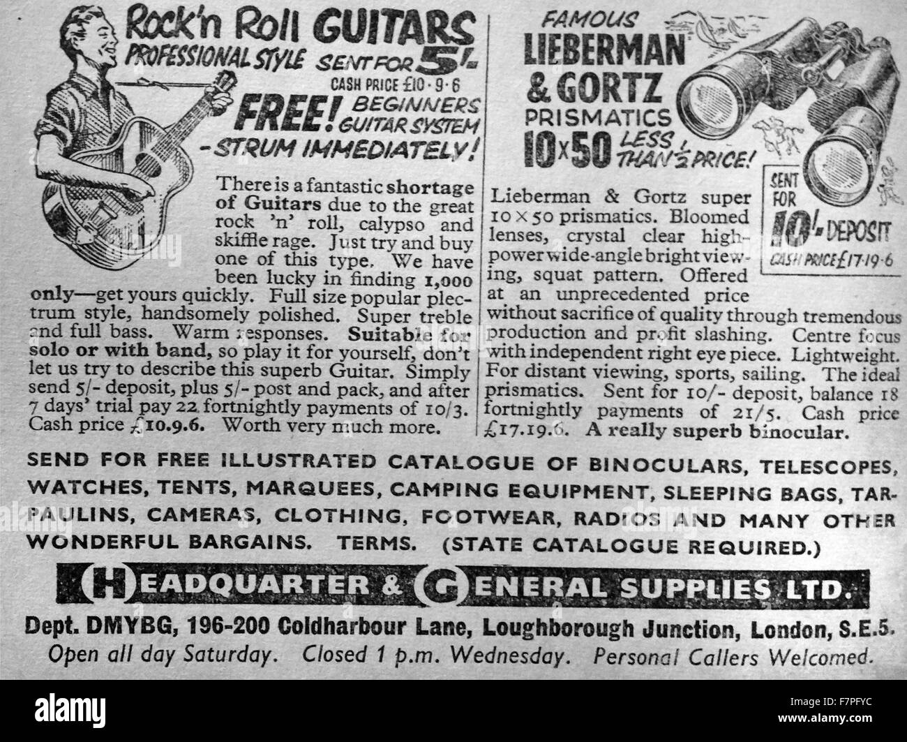 adverts for guitars and binoculars 1930's - Stock Image