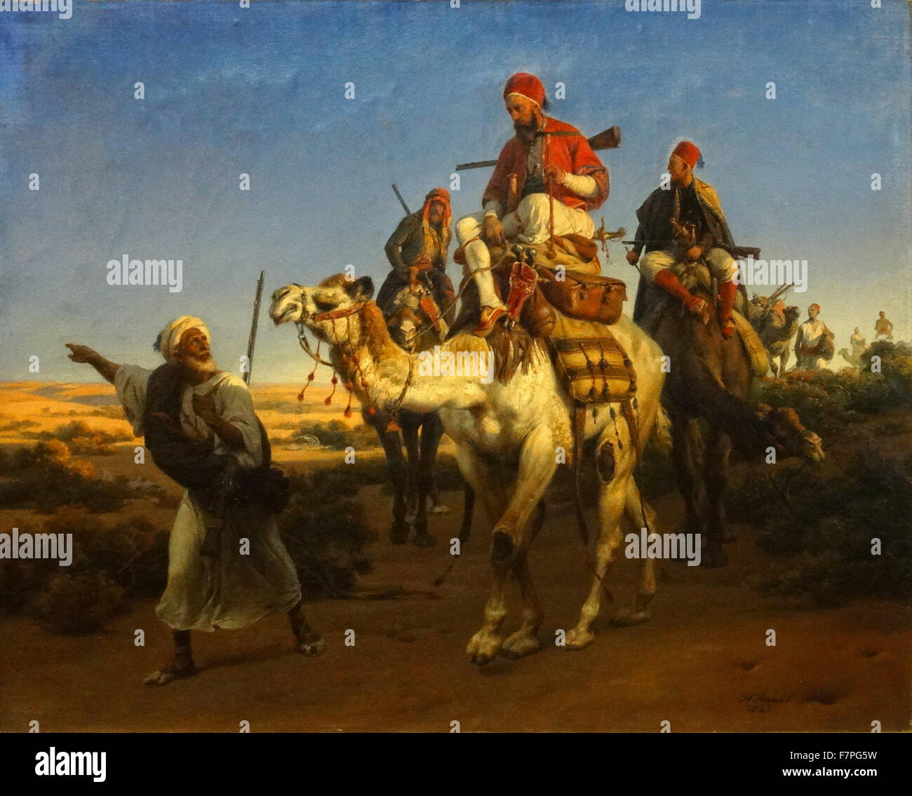 Arabs Travelling in the Desert by Horace Vernet (1789-1863) - Stock Image