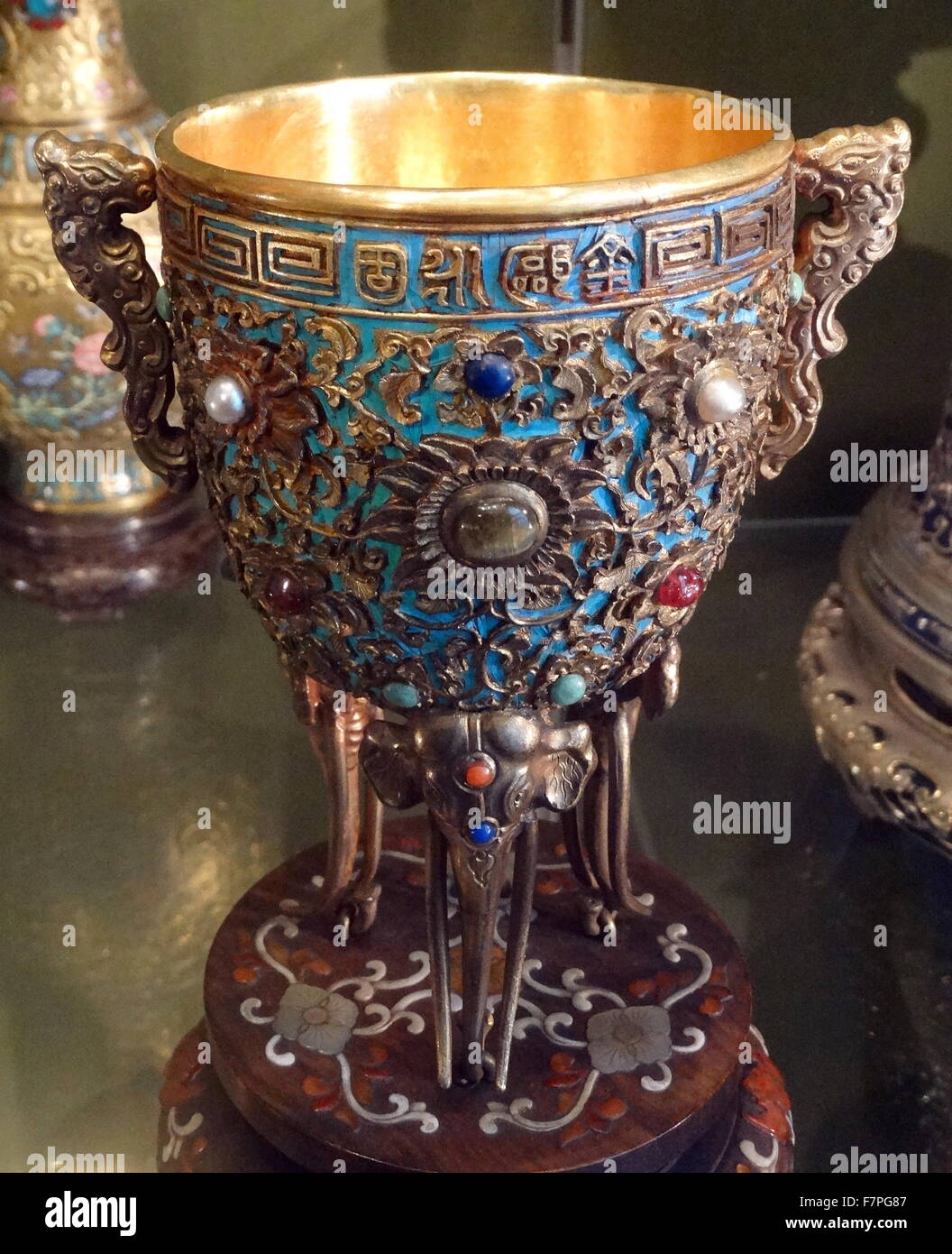 Territorial Integrity wine cup, one of four cups made for the Qianlong Emperor. Made from gold, saltwater pearls, - Stock Image