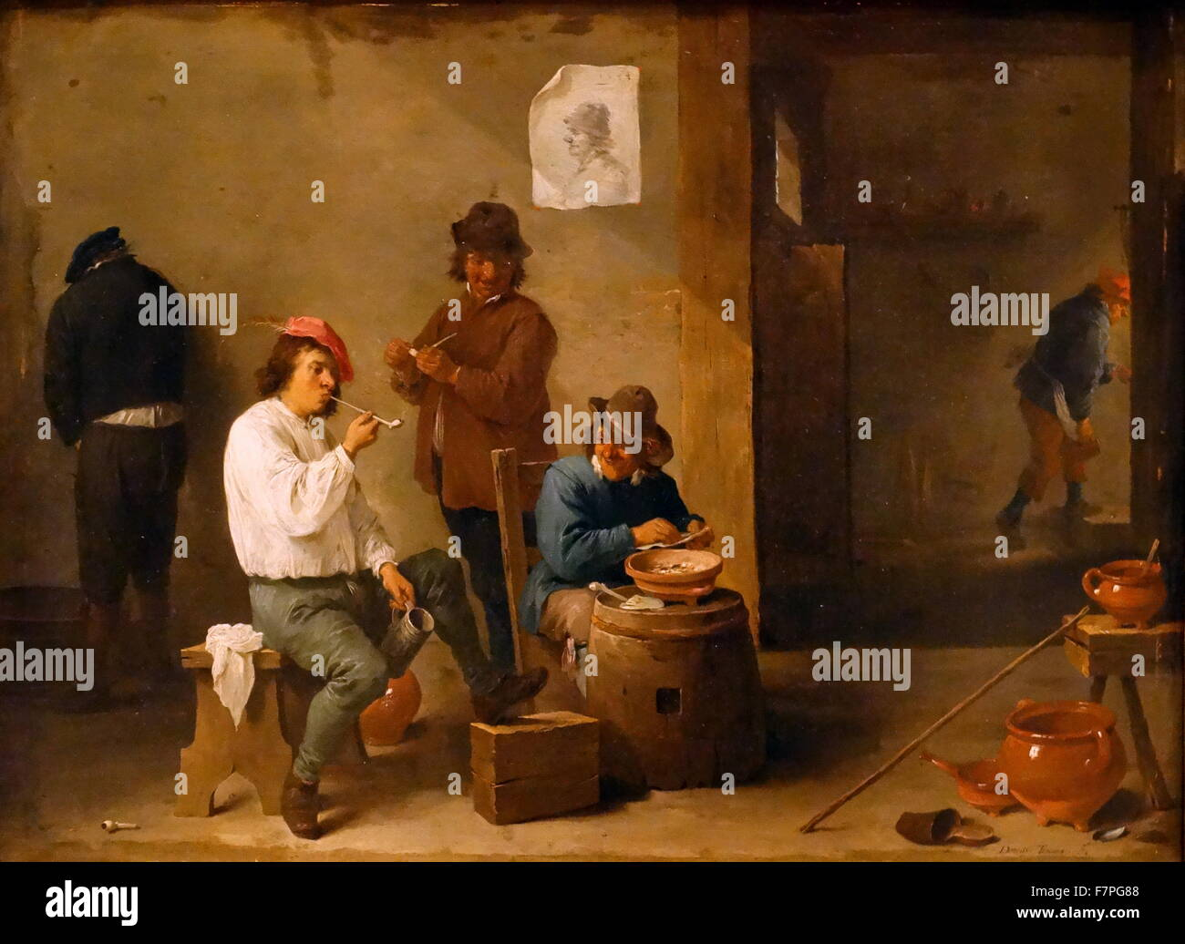 Boors Carousing by David The Younger Teniers, 1644. Oil painting reproduction on canvas. - Stock Image