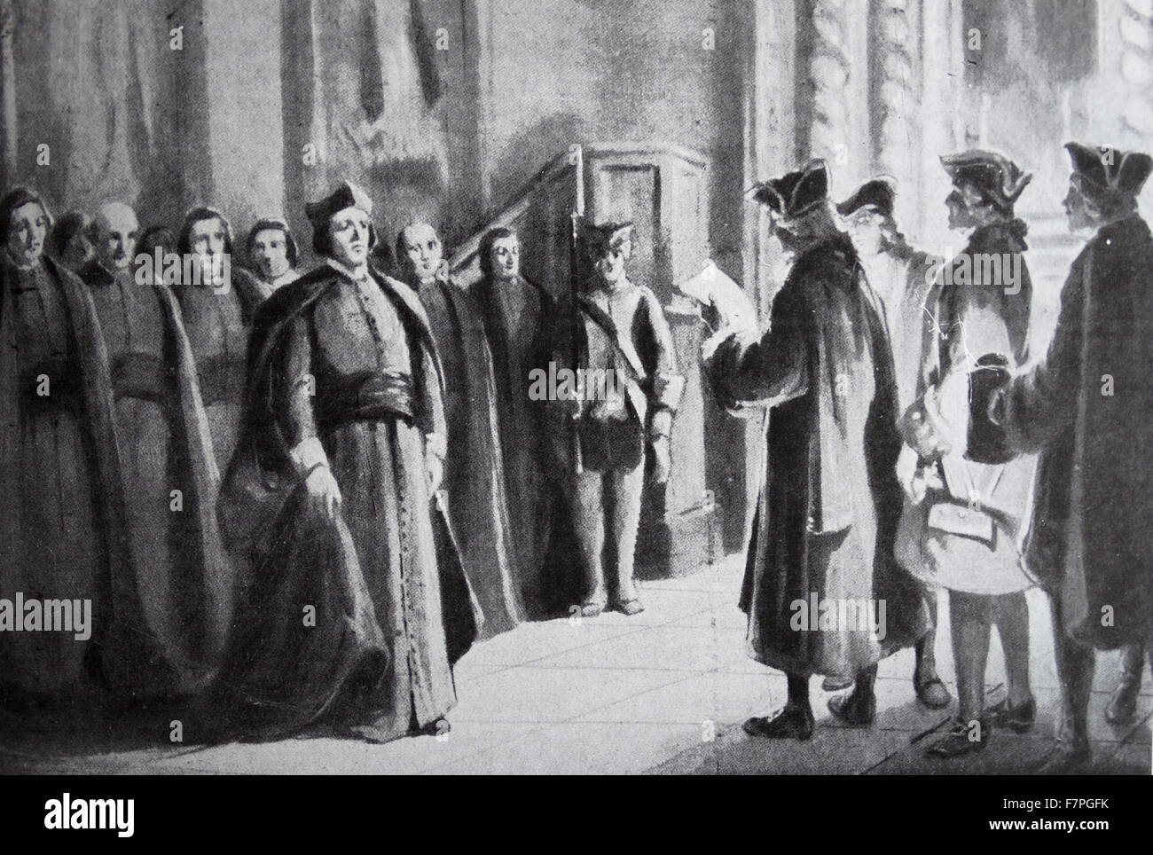 The expulsion and suppression of the Jesuits in the Spanish Empire in 1767 - Stock Image